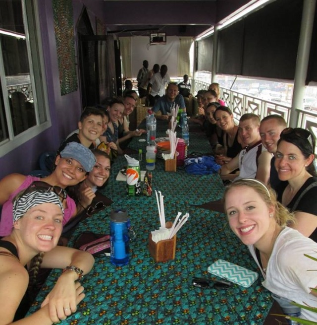 The 2015 team enjoying lunch at Musana's Sol Cafe restaurant. Best coconut chicken curry IN THE WORLD!!!
